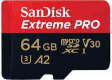 Carte mémoire microSDXC UHS-I SanDisk Extreme Pro - Carte mémoire microSD, idéale pour les caméras d'action et appareils photo hybrides. Vitesse de lecture jusqu'à 170 Mo/s, vitesse d'écriture jusqu'à 90 Mo/S. Vidéo 4K, UHD, Full HD. A2-V30-U3