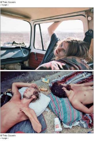 Hommes allongés nus sur une couverture et fille dans une voiture - cliché couleur de Théo Gosselin